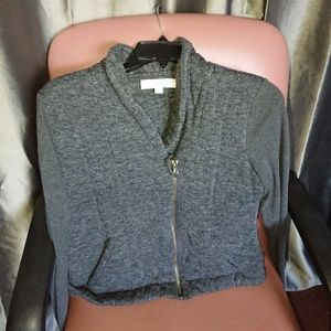 Ann Taylor LOFT jacket quilted size S gray zippere